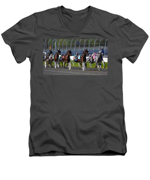 Men's V-Neck T-Shirt featuring the photograph Race To The Finish by Davandra Cribbie