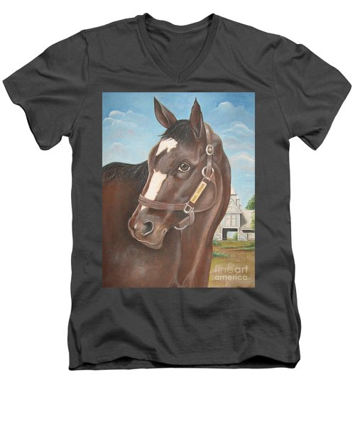 Men's V-Neck T-Shirt featuring the painting Rachel Alexandra At Stonestreet Farms by Patrice Torrillo