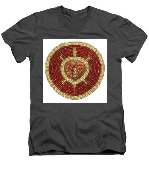Red Heart Turtle Men's V-Neck T-Shirt