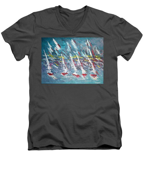 Racing To The Limits - Sold Men's V-Neck T-Shirt by George Riney