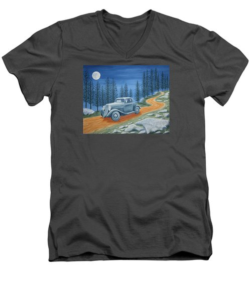 Men's V-Neck T-Shirt featuring the painting Racing Was Born In North Carolina by Stacy C Bottoms