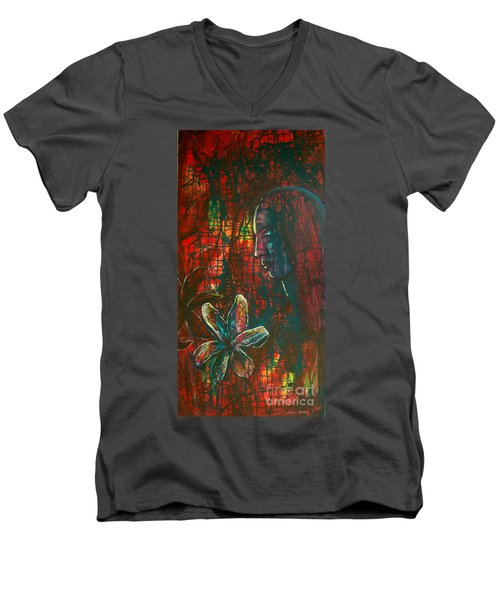 Men's V-Neck T-Shirt featuring the painting Radiating Light by Mini Arora