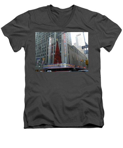 Radio City Christmas Men's V-Neck T-Shirt by Michael Porchik