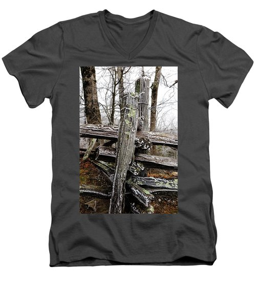 Rail Fence With Ice Men's V-Neck T-Shirt