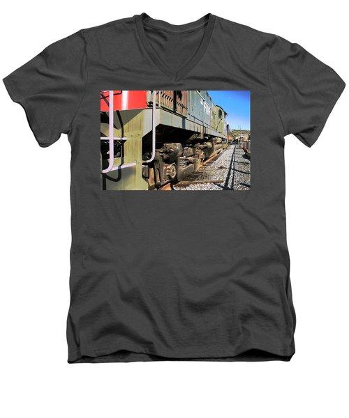 Men's V-Neck T-Shirt featuring the photograph Rail Truck by Michael Gordon