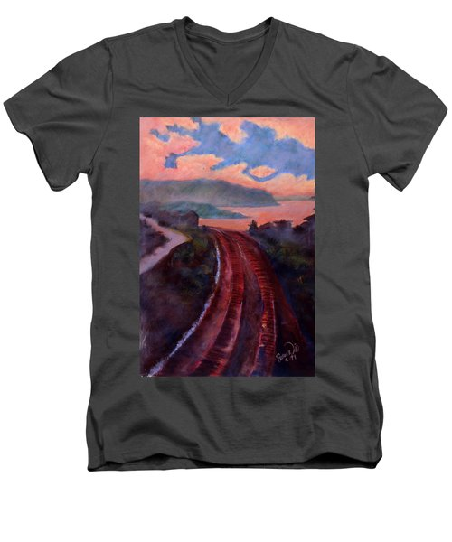 Men's V-Neck T-Shirt featuring the pastel Railroad by Susan Will