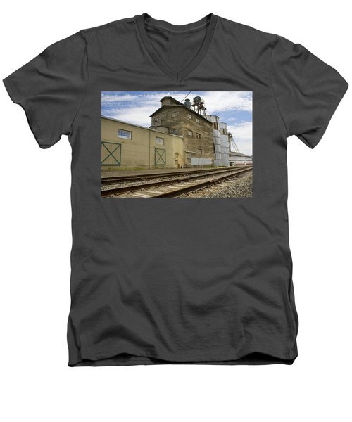 Railway Mill Men's V-Neck T-Shirt by Sonya Lang