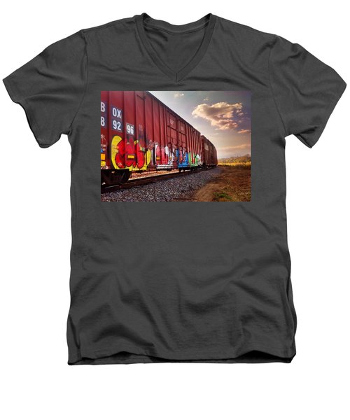 Railways Men's V-Neck T-Shirt by Janice Spivey