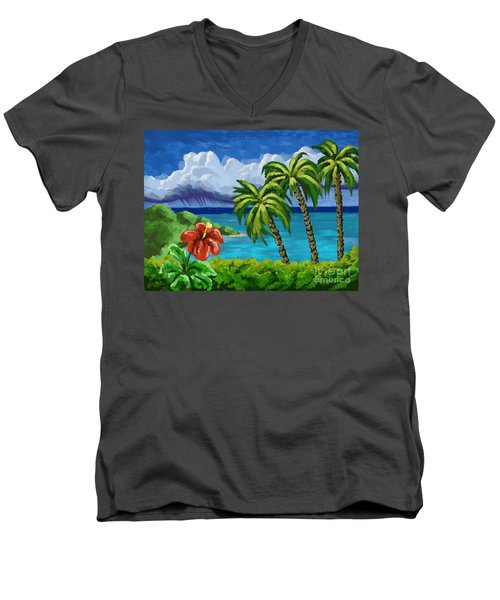 Men's V-Neck T-Shirt featuring the painting Rain In The Islands by Tim Gilliland