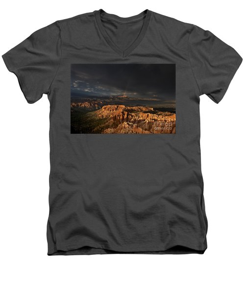 Rainbow And Thunderstorm Over The Paunsaugunt Plateau  Men's V-Neck T-Shirt