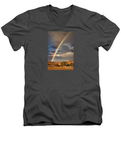 Rainbow Barn Men's V-Neck T-Shirt by Alice Cahill
