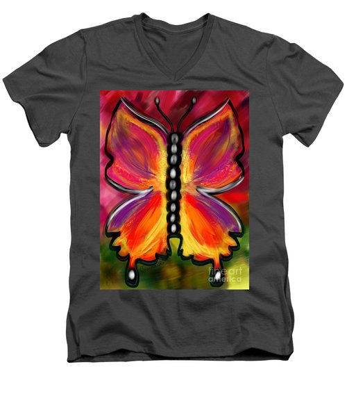 Rainbow Butterfly Men's V-Neck T-Shirt