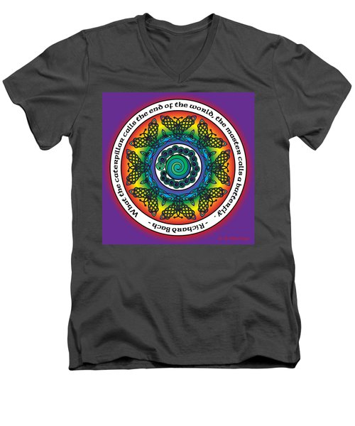 Rainbow Celtic Butterfly Mandala Men's V-Neck T-Shirt