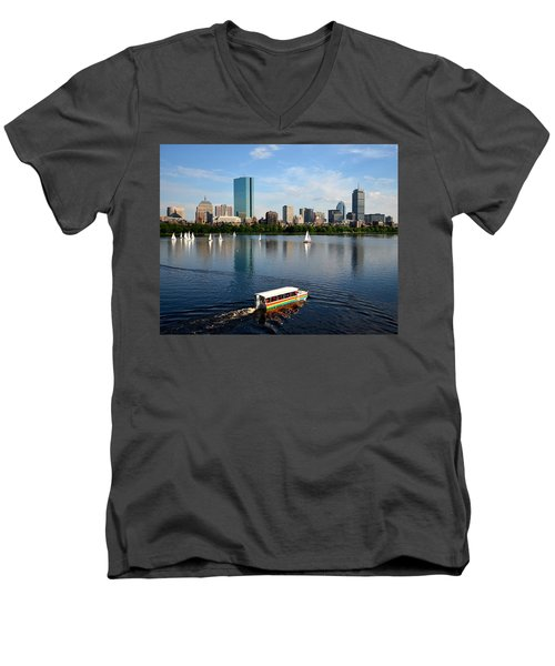 Rainbow Duck Boat On The Charles Men's V-Neck T-Shirt