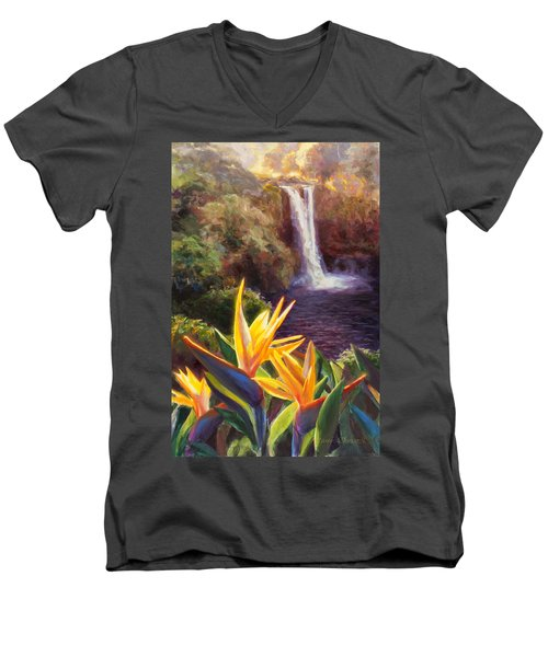 Rainbow Falls Big Island Hawaii Waterfall  Men's V-Neck T-Shirt