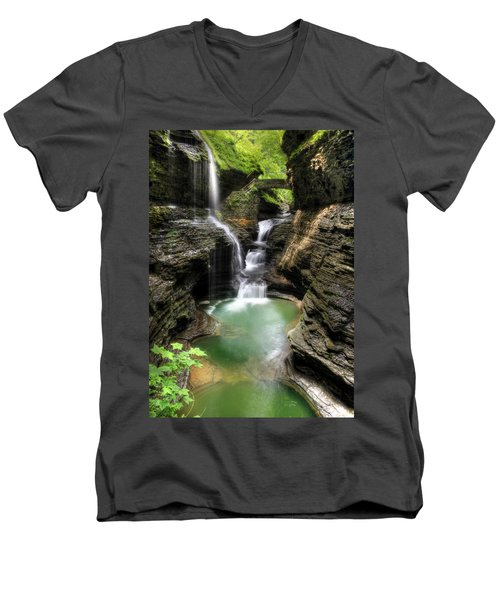 Rainbow Falls Men's V-Neck T-Shirt by Lori Deiter