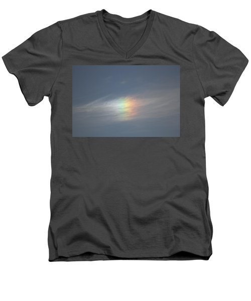 Men's V-Neck T-Shirt featuring the photograph Rainbow In The Clouds by Eti Reid
