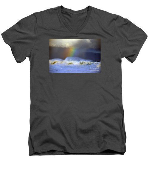 Men's V-Neck T-Shirt featuring the photograph Rainbow On The Banzai Pipeline At The North Shore Of Oahu by Aloha Art