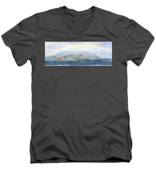 Rainbow Over The Isle Of Arran Men's V-Neck T-Shirt by Liz Leyden