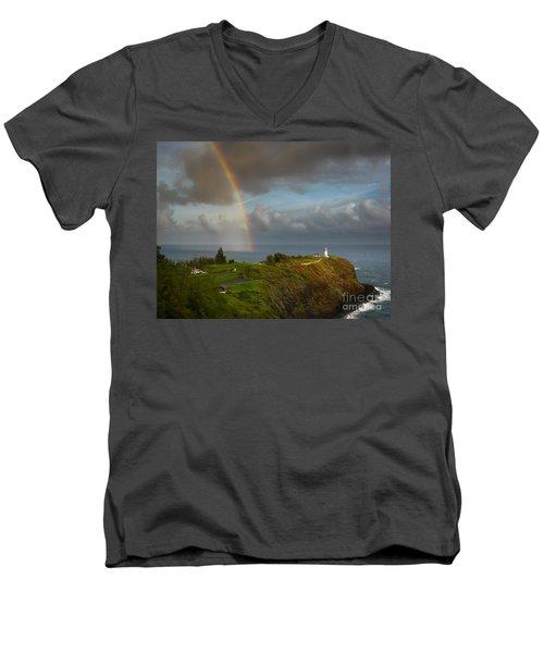 Rainbow Over Kilauea Lighthouse On Kauai Men's V-Neck T-Shirt by IPics Photography