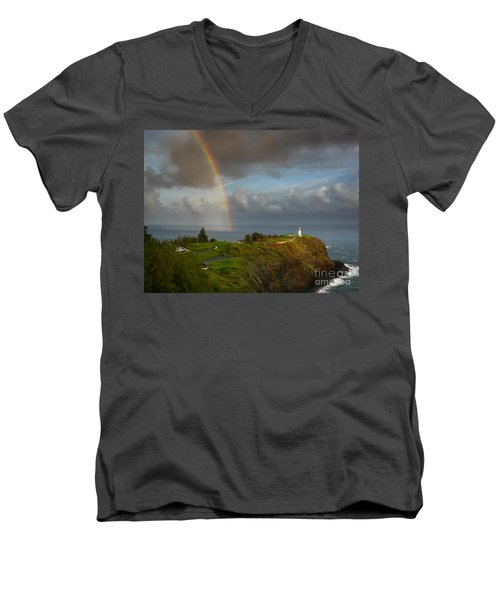 Rainbow Over Kilauea Lighthouse On Kauai Men's V-Neck T-Shirt