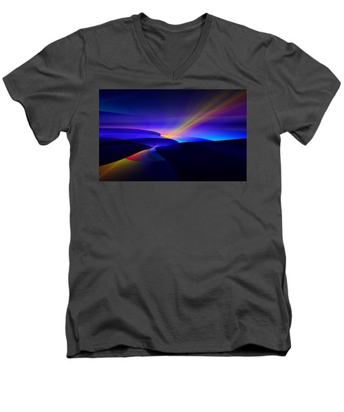 Men's V-Neck T-Shirt featuring the digital art Rainbow Pathway by GJ Blackman