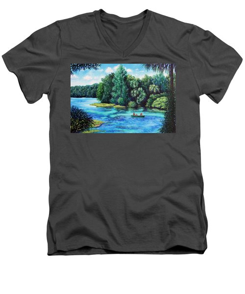 Men's V-Neck T-Shirt featuring the painting Rainbow River At Rainbow Springs Florida by Penny Birch-Williams