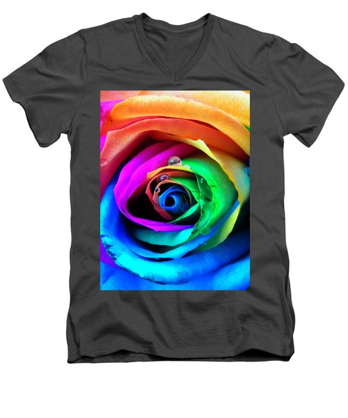 Rainbow Rose Men's V-Neck T-Shirt