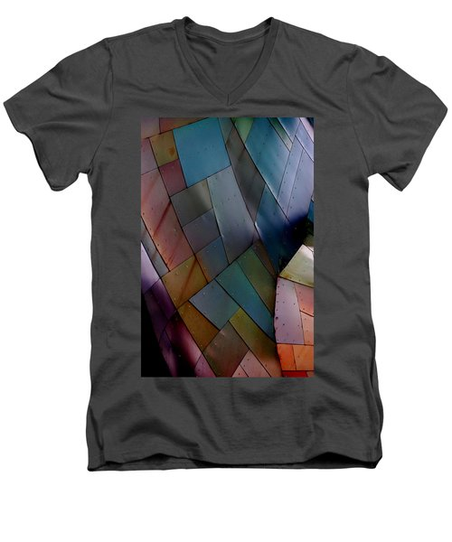 Rainbow Shingles Men's V-Neck T-Shirt by Holly Blunkall