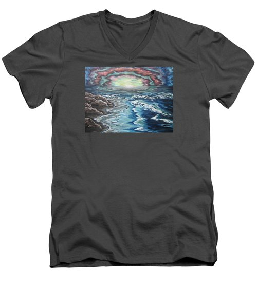 Rainbow Skies Men's V-Neck T-Shirt by Cheryl Pettigrew