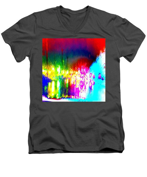 Rainbow Splash Abstract Men's V-Neck T-Shirt by Marianne Dow
