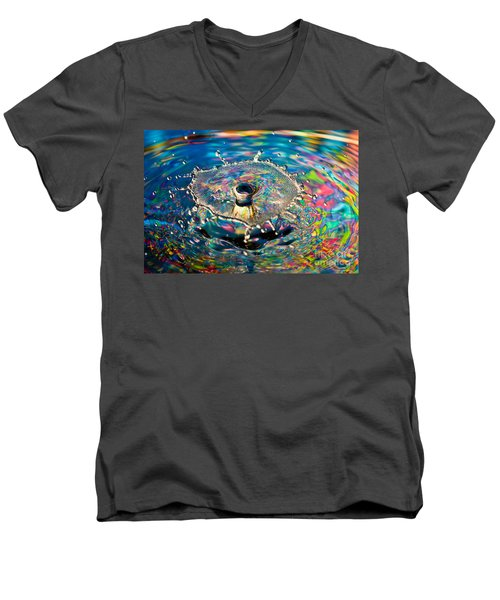 Rainbow Splash Men's V-Neck T-Shirt