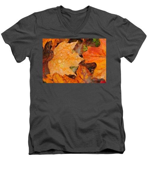 Raindrops On Fallen Maple Leaf Men's V-Neck T-Shirt