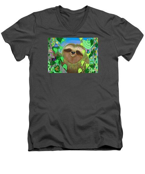 Rainforest Sloth Men's V-Neck T-Shirt by Nick Gustafson