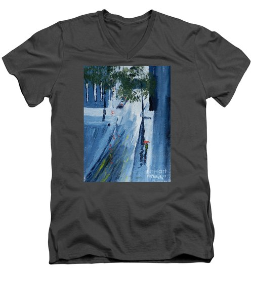 Raining Again Men's V-Neck T-Shirt by Pamela  Meredith