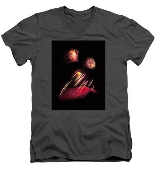 Raining Fire At Midnight Above 14000 Feet Men's V-Neck T-Shirt by Bijan Pirnia