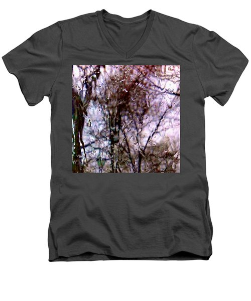 Men's V-Neck T-Shirt featuring the photograph Rainscape - Rain On The Window Series 1 Abstract Photo by Marianne Dow