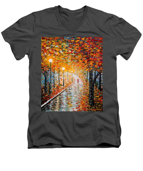Men's V-Neck T-Shirt featuring the painting Rainy Autumn Day Palette Knife Original by Georgeta  Blanaru