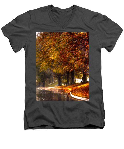Men's V-Neck T-Shirt featuring the photograph Rainy Day Path by Lesa Fine