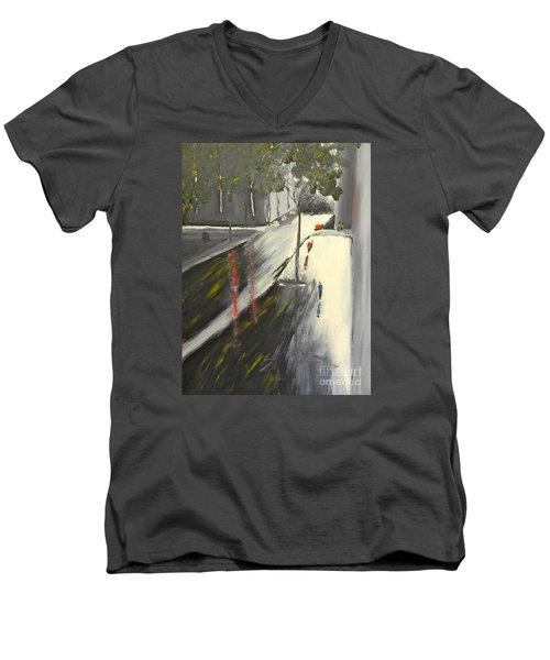 Men's V-Neck T-Shirt featuring the painting Rainy Street In Melbourne by Pamela  Meredith