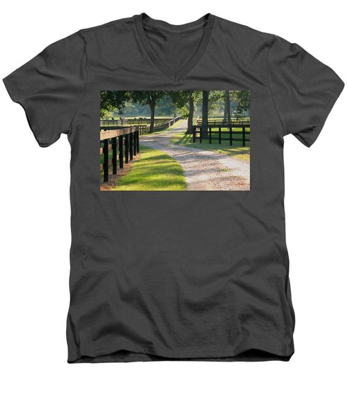 Ranch Road In Texas Men's V-Neck T-Shirt by Connie Fox