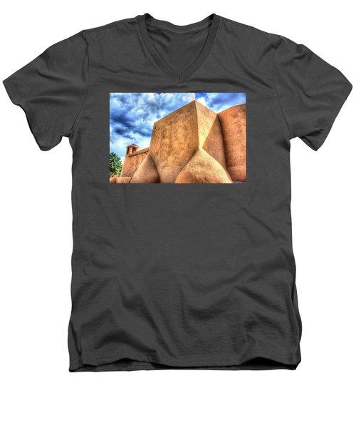 Men's V-Neck T-Shirt featuring the photograph San Francesco De Asis, Rancho De Taos I by Lanita Williams
