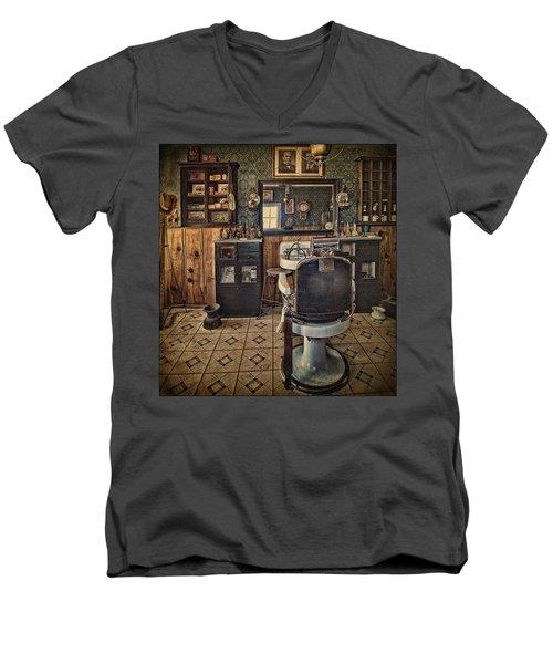 Randsburg Barber Shop Interior Men's V-Neck T-Shirt by Priscilla Burgers