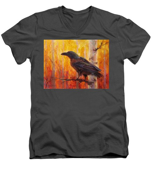 Raven Glow Autumn Forest Of Golden Leaves Men's V-Neck T-Shirt