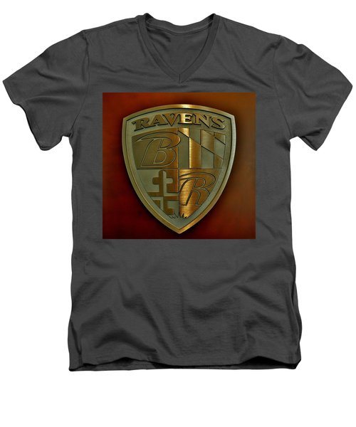 Ravens Coat Of Arms Men's V-Neck T-Shirt by Robert Geary