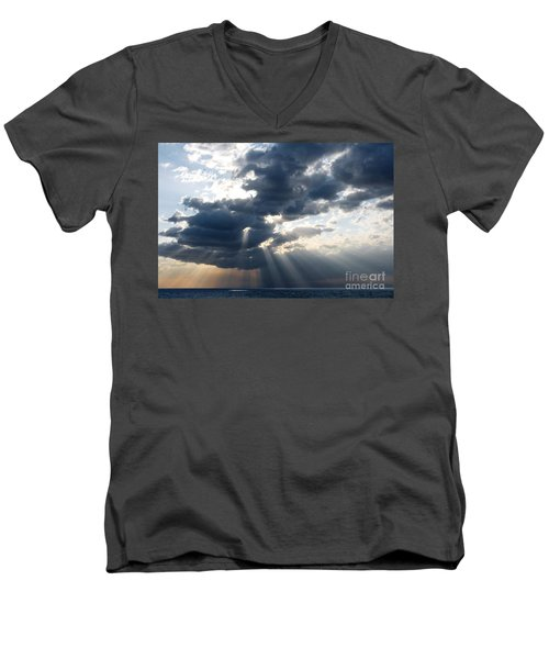 Rays And Clouds Men's V-Neck T-Shirt by Antonio Scarpi