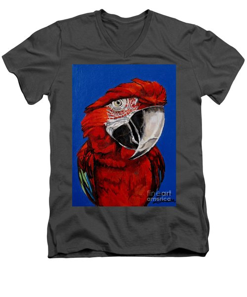 Razzy Red - Bird- Macaw Men's V-Neck T-Shirt