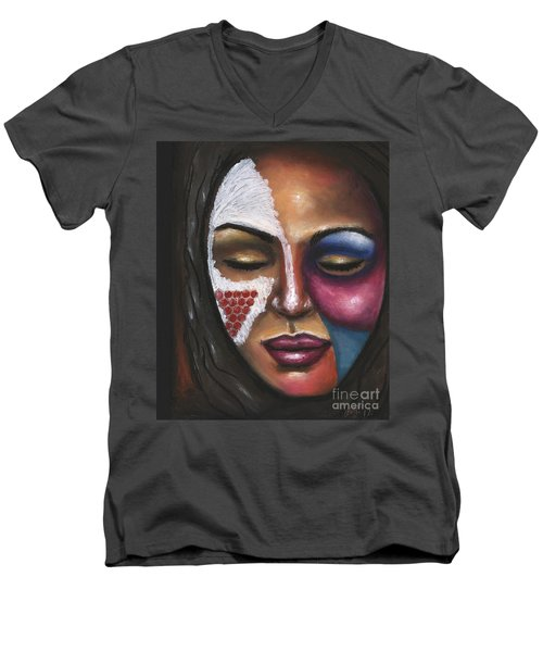 Men's V-Neck T-Shirt featuring the painting Reaching Deep Within by Alga Washington