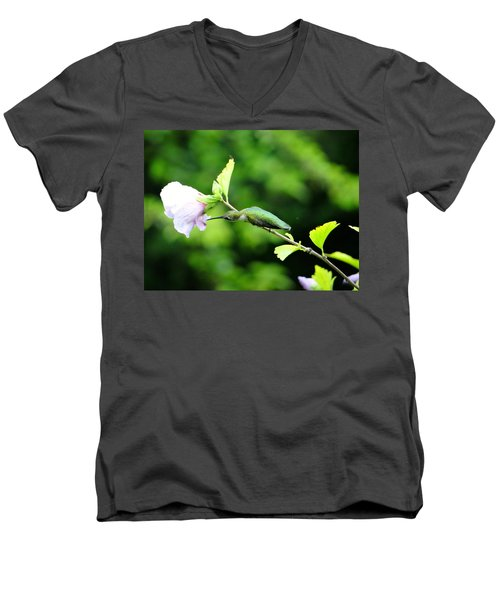 Men's V-Neck T-Shirt featuring the photograph Reaching For Nectar by Ecinja