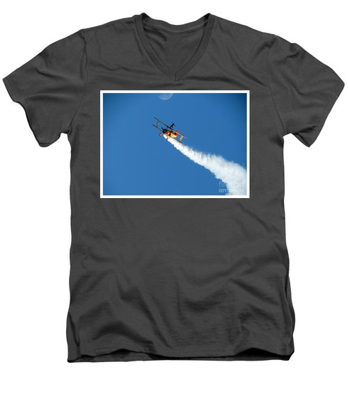 Men's V-Neck T-Shirt featuring the photograph Reaching For The Moon. Oshkosh 2012. Postcard Border. by Ausra Huntington nee Paulauskaite